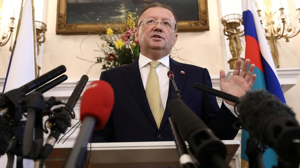 Russian Ambassador Alexander Yakovenko addresses the media at a news conference at his official residence in central London, on April 5, 2018. (Reuters)
