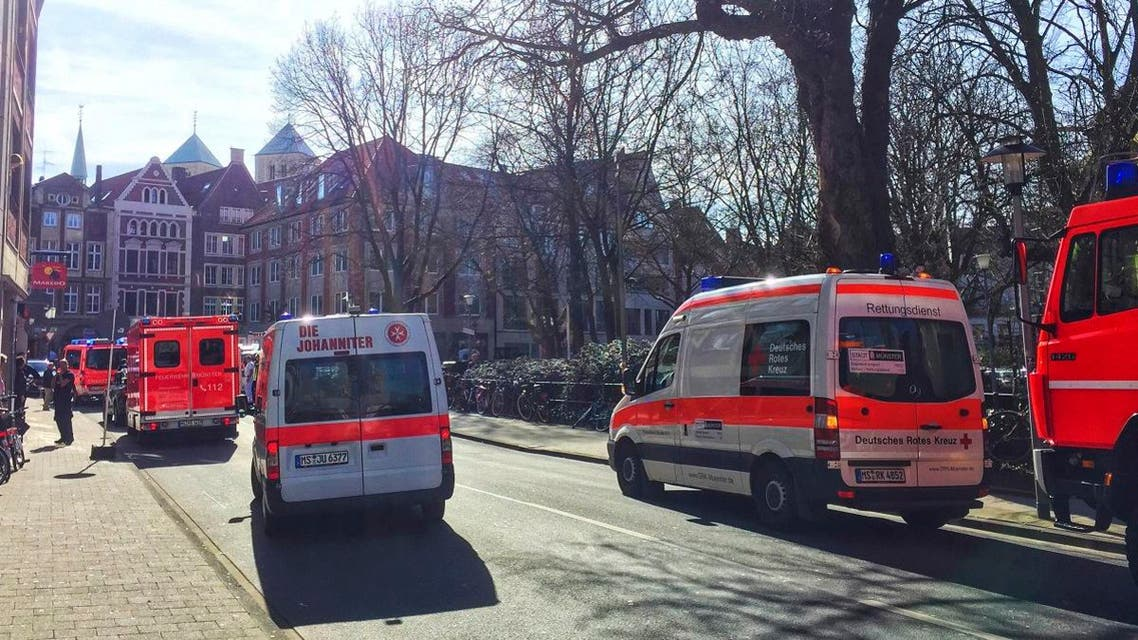 Ambulances stand in downtown Muenster, Germany, Saturday, April 7, 2018. (AP)