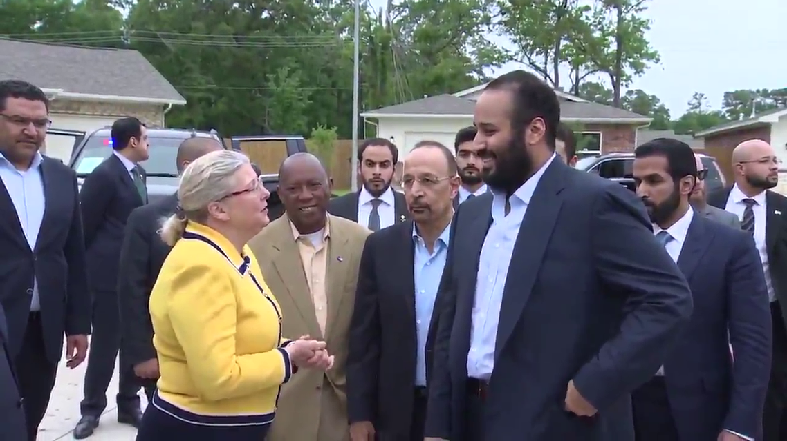 Saudi Crown Prince Mohammed bin Salman tours Harvey-hit area