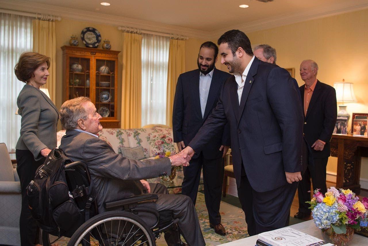 Saudi ambassador to the United States Prince Khalid bin Salman greets Bush