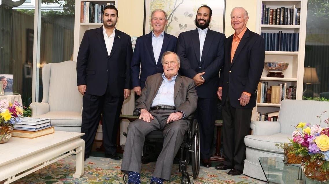 Saudi Crown Prince Mohammed bin Salman visits former US President George HW Bush in Texas.