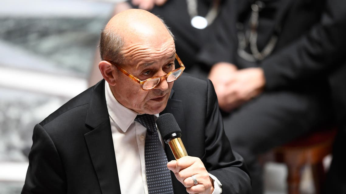 French Foreign Affairs Minister Jean-Yves Le Drian speaks during a session of questions to the government at the French National Assembly in Paris on March 28, 2018.  BERTRAND GUAY / AFP