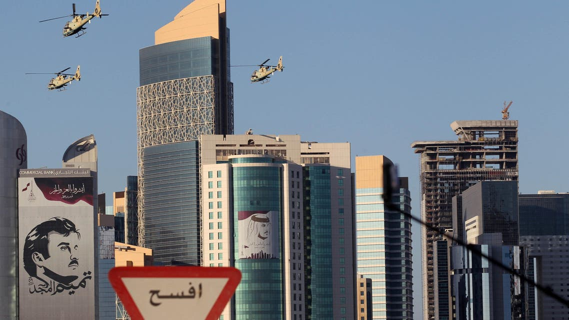 Aircrafts fly during Qatar's National Day celebrations in Doha on December 18, 2017. (Reuters)