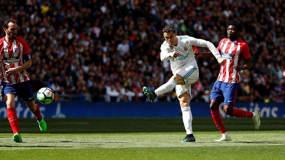Real Madrid's Cristiano Ronaldo shoots at goal. (Reuters)