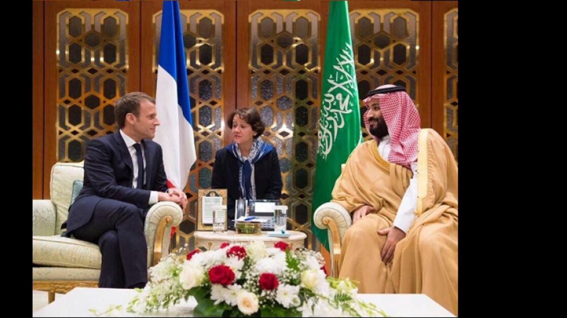 saudi crown prince and macron spa