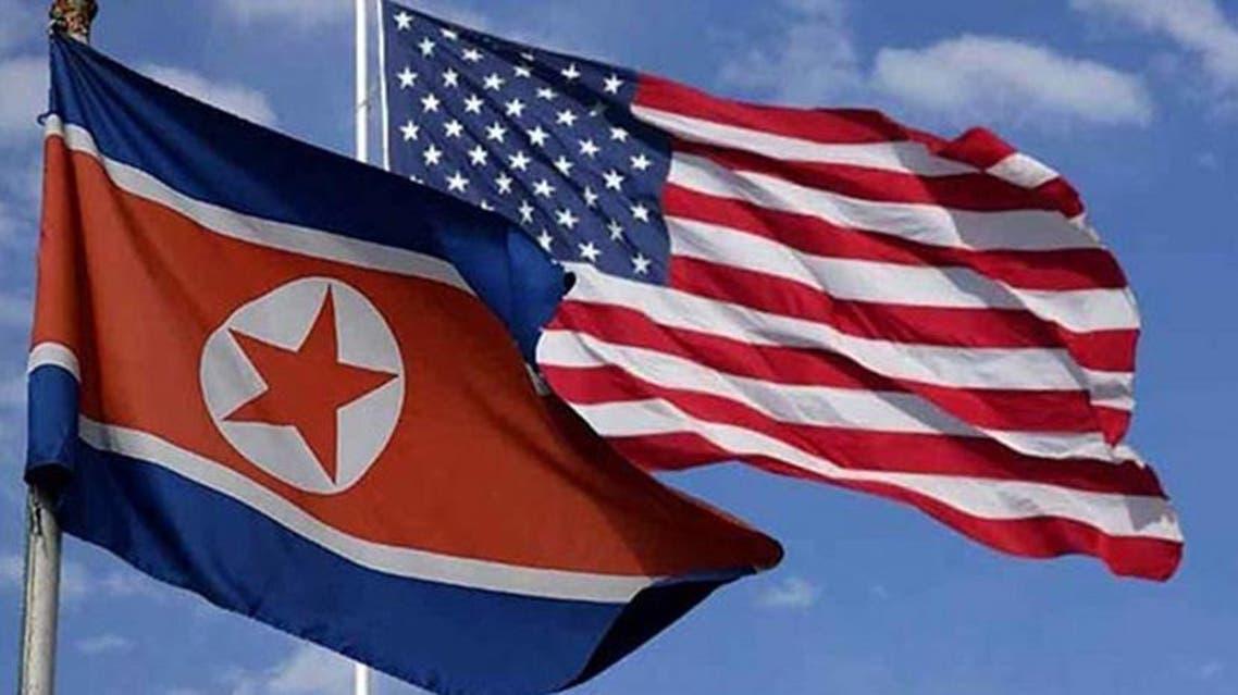 North Korea and america flags