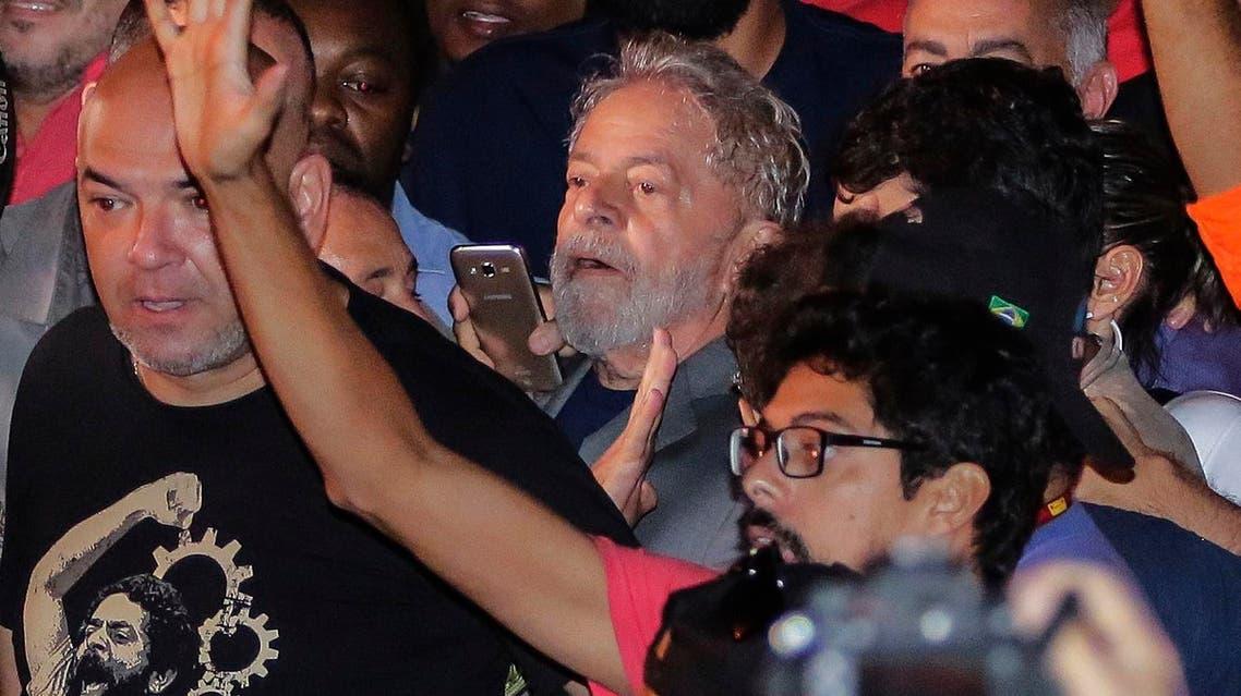 Former President Luiz Inacio Lula da Silva, leaves the metal workers union headquarters in Sao Bernardo do Campo, Brazil, on April 7, 2018.  (AP)