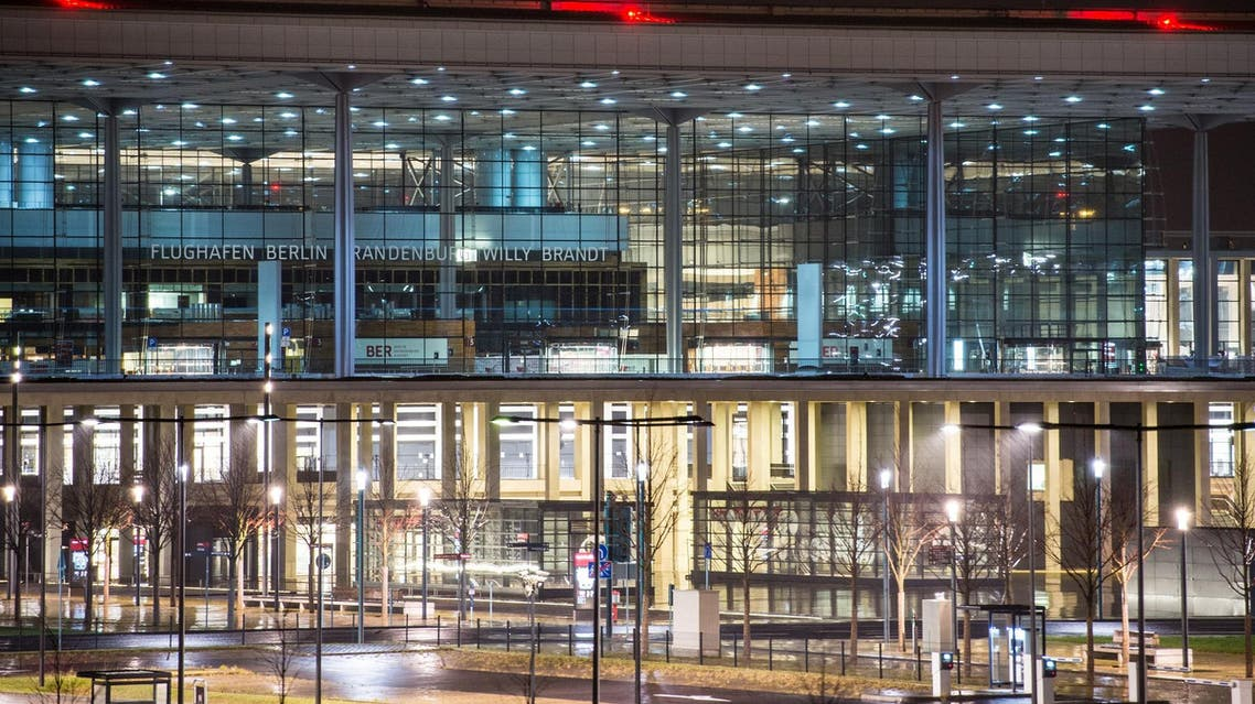 Terminal of the new Berlin airport is illuminated in Schoenefeld near Berlin early Dec. 12, 2014. (AP)
