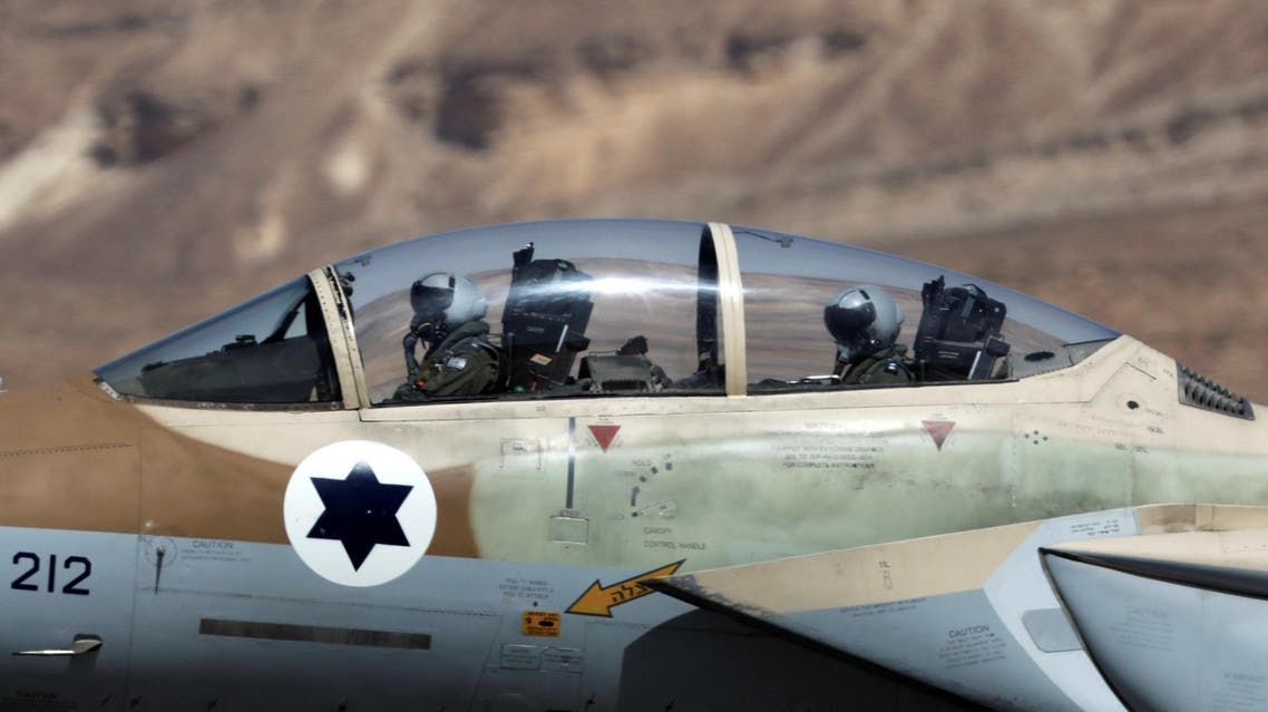 """IAF pilots are seen inside fighter jet during exercise dubbed """" Juniper Falcon"""" at Ovda Airbase. (Reuters)"""