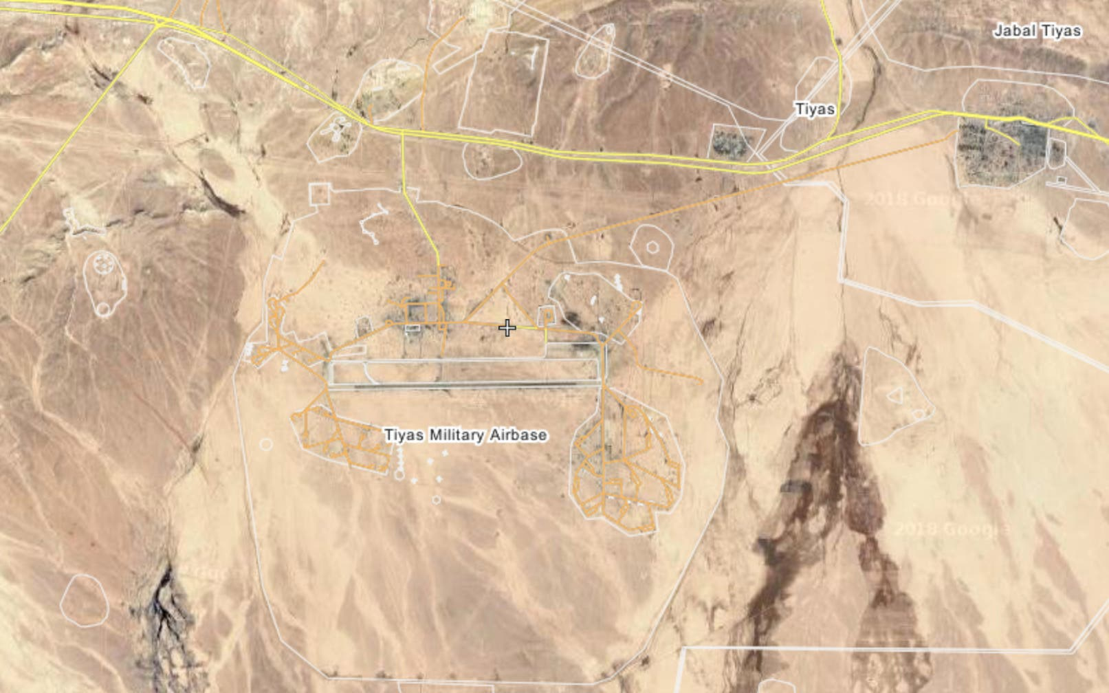 Map of the Tayfour airbase (also known as Althias, Tiyas or T-4)