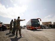 68 حافلة تصل حلب وعلى متنها مقاتلين تم إجلاءهم من دوما