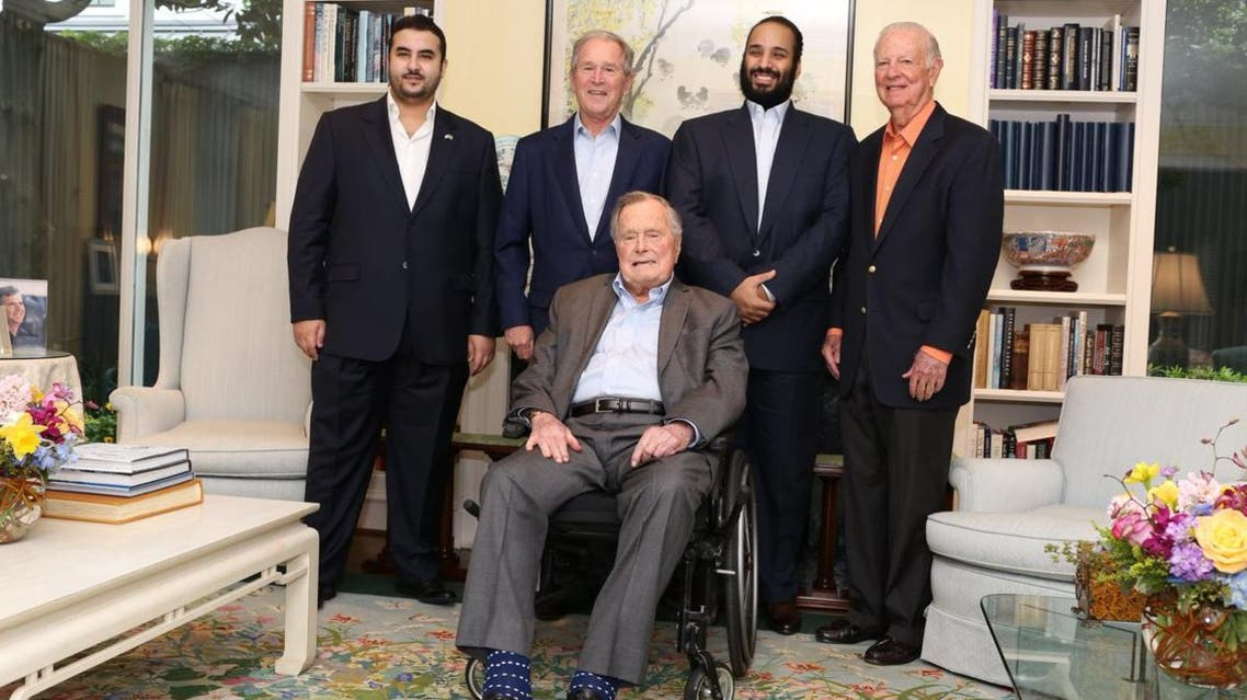 أثناء زيارة الأمير محمد بن سلمان للرئيس الأسبق جورج بوش الأب