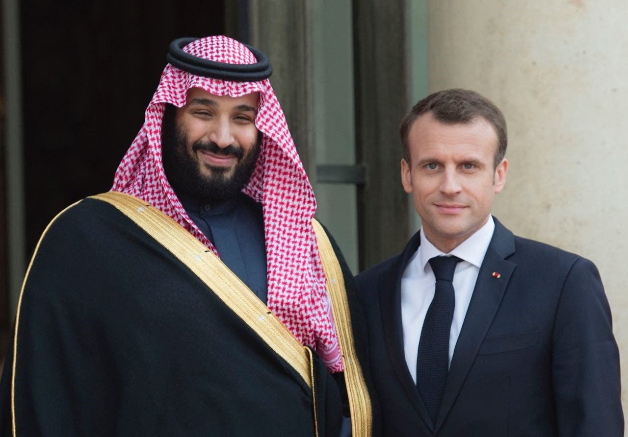 Saudi Crown Prince Mohammed bin Salman met French President Emmanuel Macron at Élysée Palace, on Tuesday. (Supplied)