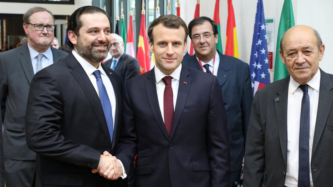 President Macron with Lebanese Prime Minister Saad Hariri in Paris on April 6, 2018. (Reuters)