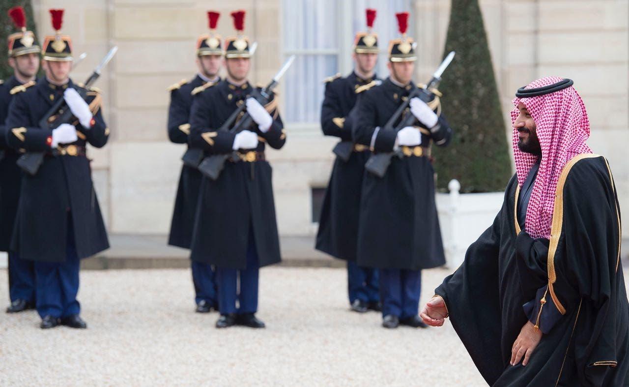 Saudi Crown Prince Mohammed bin Salman met French President Emmanuel Macron at Élysée Palace, on Tuesday. (Supplied)