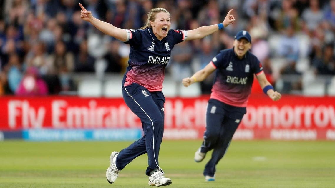 England's Anya Shrubsole celebrates bowling out India's Jhulan Goswami during the  Women's Cricket World Cup Final  held in London on July 23, 2017. (Reuters)