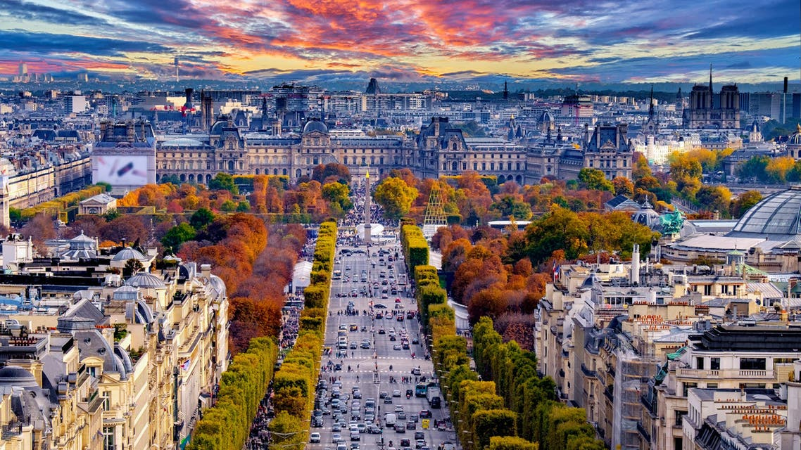 Paris, France - Champs Elysees cityscape. View from Arc de Triomphe. Dramatic sunset sky with clouds in autumn. (Shutterstock)