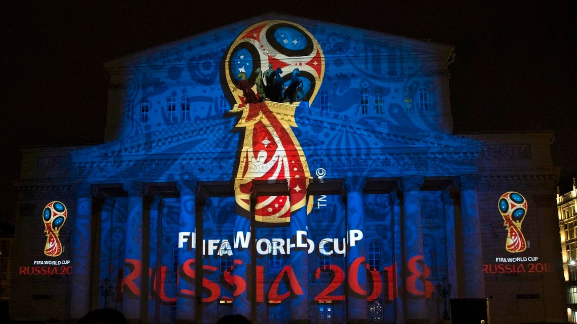 The official logo for the 2018 FIFA World Cup is presented on the facade of the Bolshoi Theatre in Moscow, Russia. (AAThe official logo for the 2018 FIFA World Cup is presented on the facade of the Bolshoi Theatre in Moscow, Russia. (AP)