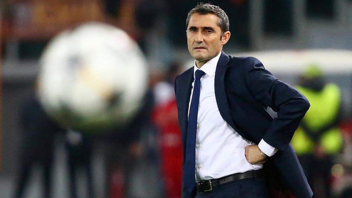 Barcelona coach Ernesto Valverde looks on during the Champions League quarter final second leg against Roma at Stadio Olimpico, Rome, on April 10, 2018. (Reuters)