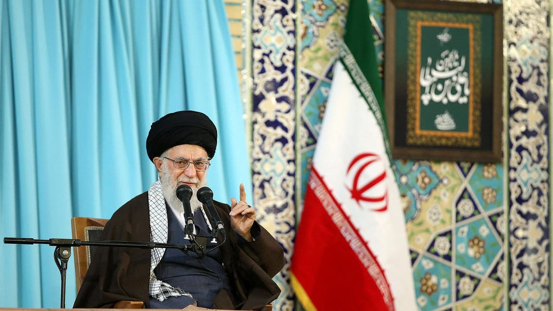 Iran's Supreme Leader Ayatollah Ali Khamenei gestures as he delivers a speech in Mashad, Iran, March 21, 2018. Leader.ir/Handout via REUTERS ATTENTION EDITORS - THIS PICTURE WAS PROVIDED BY A THIRD PARTY. NO RESALES. NO ARCHIVE.
