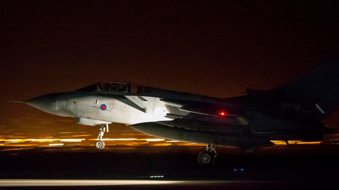 In this image released by Britain's Ministry of Defense, an RAF Tornado comes into land at Britain Royal Air Force base in Akrotiri, Cyprus, after its mission to conduct strikes in support of operations over the Middle East Saturday, April 14, 2018. The United States, France and Britain launched military strikes in Syria to punish President Bashar Assad for an apparent chemical attack against civilians and to deter him from doing it again, President Donald Trump announced Friday. Pentagon officials said the attacks targeted the heart of Assad's programs to develop and produce chemical weapons. (Cpl L Matthews/MoD via AP)