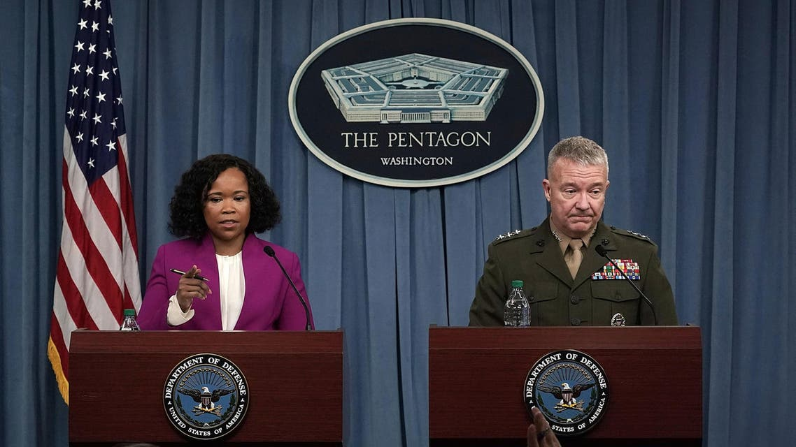 ARLINGTON, VA - APRIL 14: Pentagon Chief Spokesperson Dana W. White (L) and Marine Lt. Gen. Kenneth F. McKenzie Jr. (R), participate in a news briefing at the Pentagon April 14, 2018 in Arlington, Virginia. The Pentagon held a briefing on the latest development of the strike in Syria. Alex Wong/Getty Images/AFP