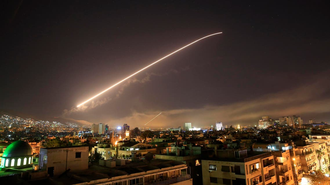 The Damascus sky lights up missile fire as the US launches an attack on Syria on April 14, 2018. (AP)
