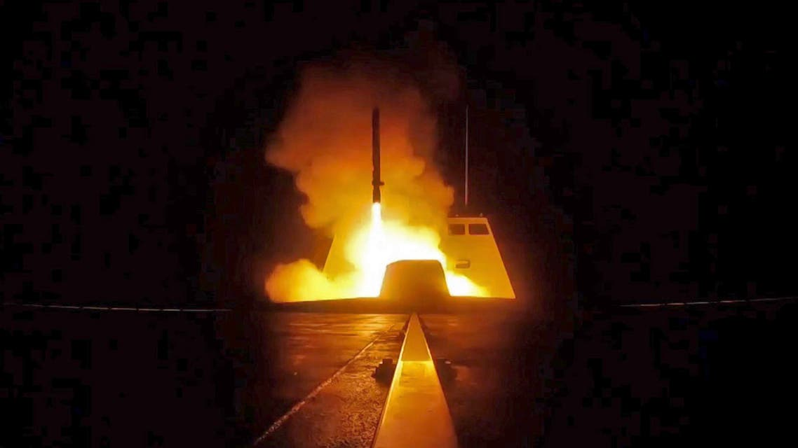 picture released by the French Defence audiovisual communication and production unit (ECPAD) shows the launching of a cruise missile from a French military vessel in the Mediterranean sea towards targets in Syria overnight April 13 to 14, 2018. The United States, France and Britain carried out a wave of punitive strikes against Bashar al-Assad's Syrian regime in the early hours of April 14, 2018 in response to alleged chemical weapons attacks. Handout / AFP / ECPAD