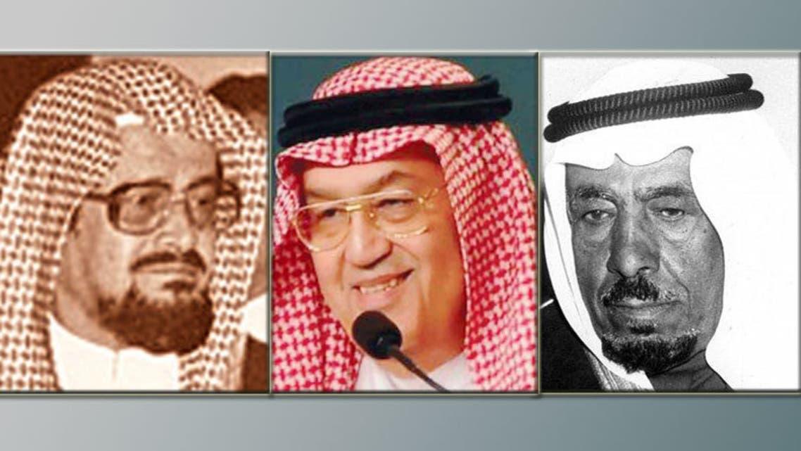 غازي القصيبي (وسطاً) وإلى اليمين: عبدالله بن خميس ويساراً راشد بن خنين