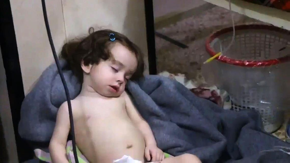 A child recovering at a hospital following an alleged chemical attack on Douma on April 8, 2018. (AFP)