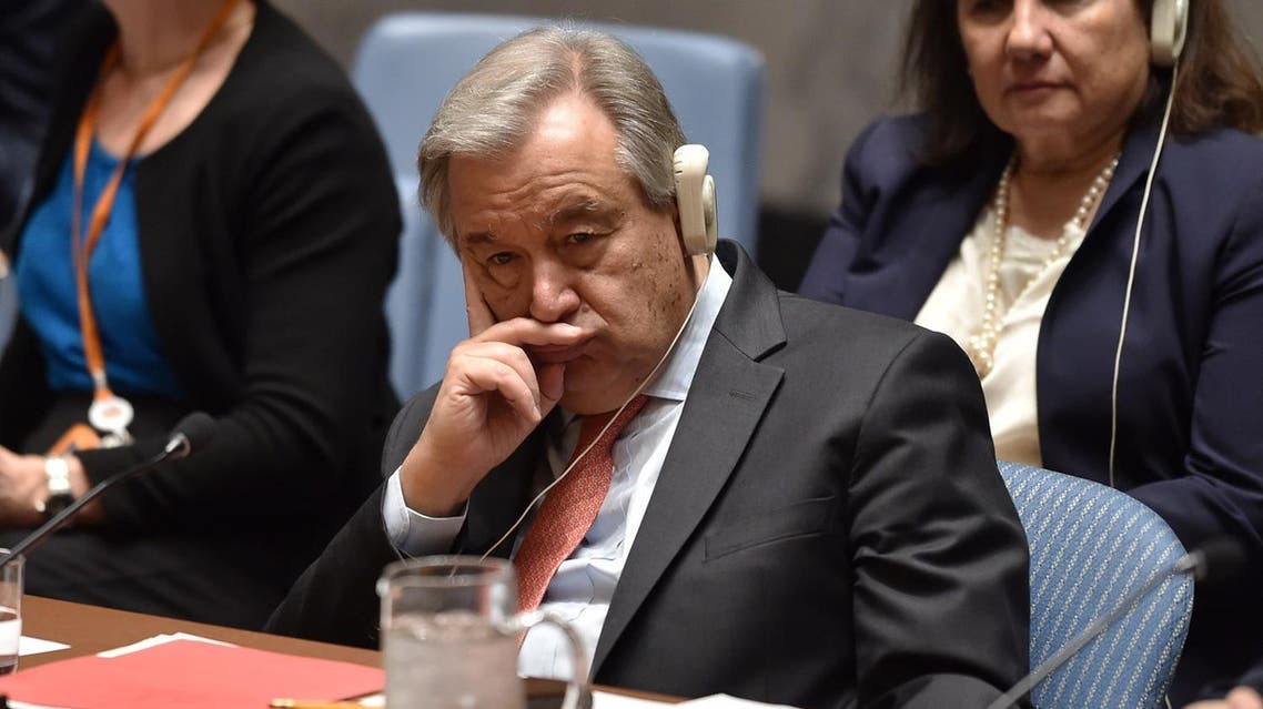 UN Secretary-General Antonio Guterres listens during a UN Security Council meeting at the United Nations Headquarters in New York, on April 14, 2018.