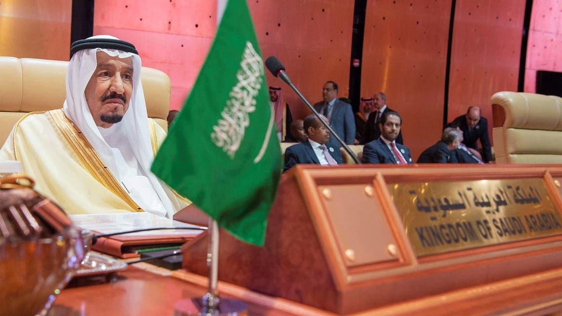 King Salman bin Abdulaziz Al Saud attends during the opening of 29th Arab Summit in Dhahran. (SPA)