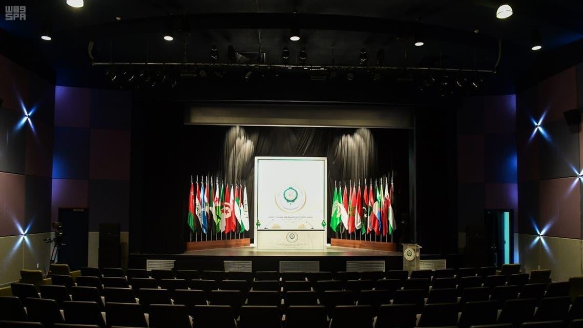 أحد المراكز الإعلامية لتغطية أعمال القمة العربية الـ29 بالظهران