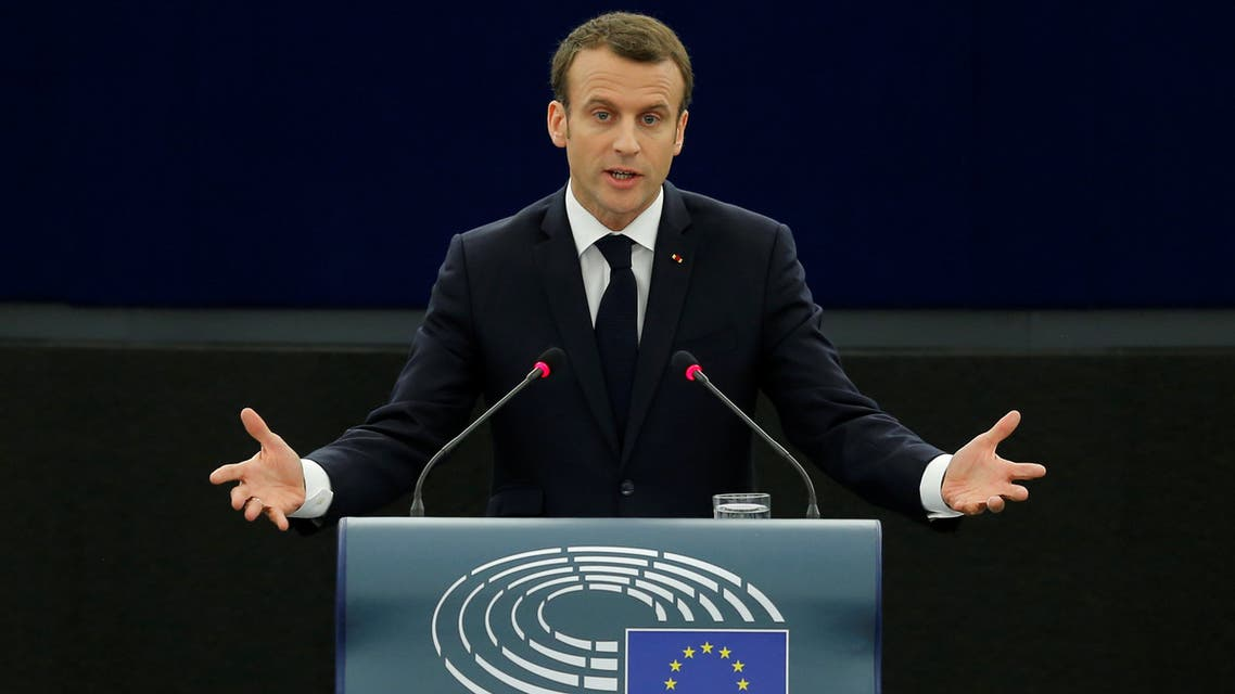 French President Emmanuel Macron delivers a speech before a debate on the Future of Europe at the European Parliament in Strasbourg, France, April 17, 2018. REUTERS/Vincent Kessler