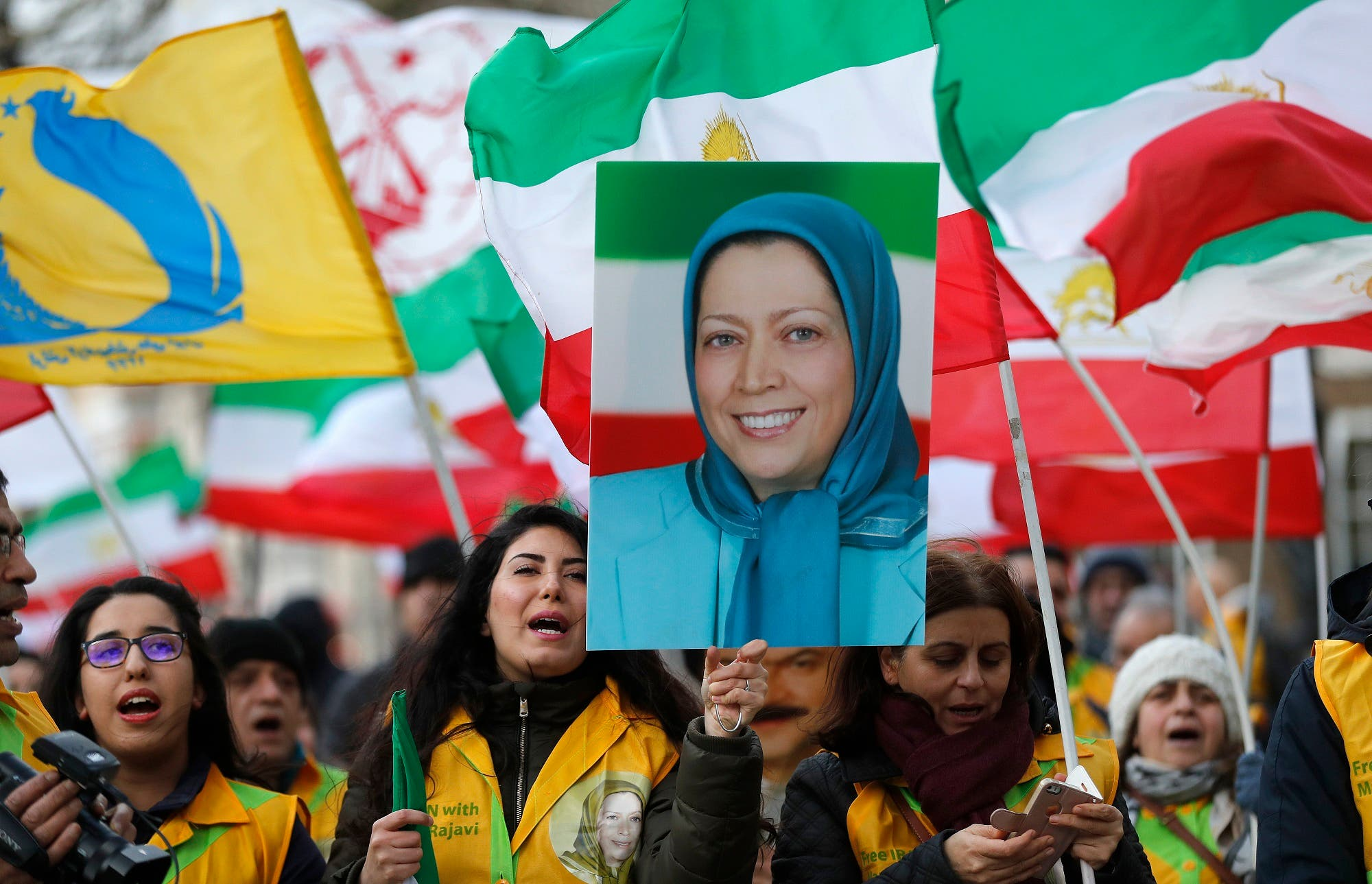 The Anglo-Iranian communities, supporters of Iran's democratic opposition, the National Council of Resistance of Iran and main organised opposition movement PMOI, hold a rally in London on Jan. 4, 2018. (AP)