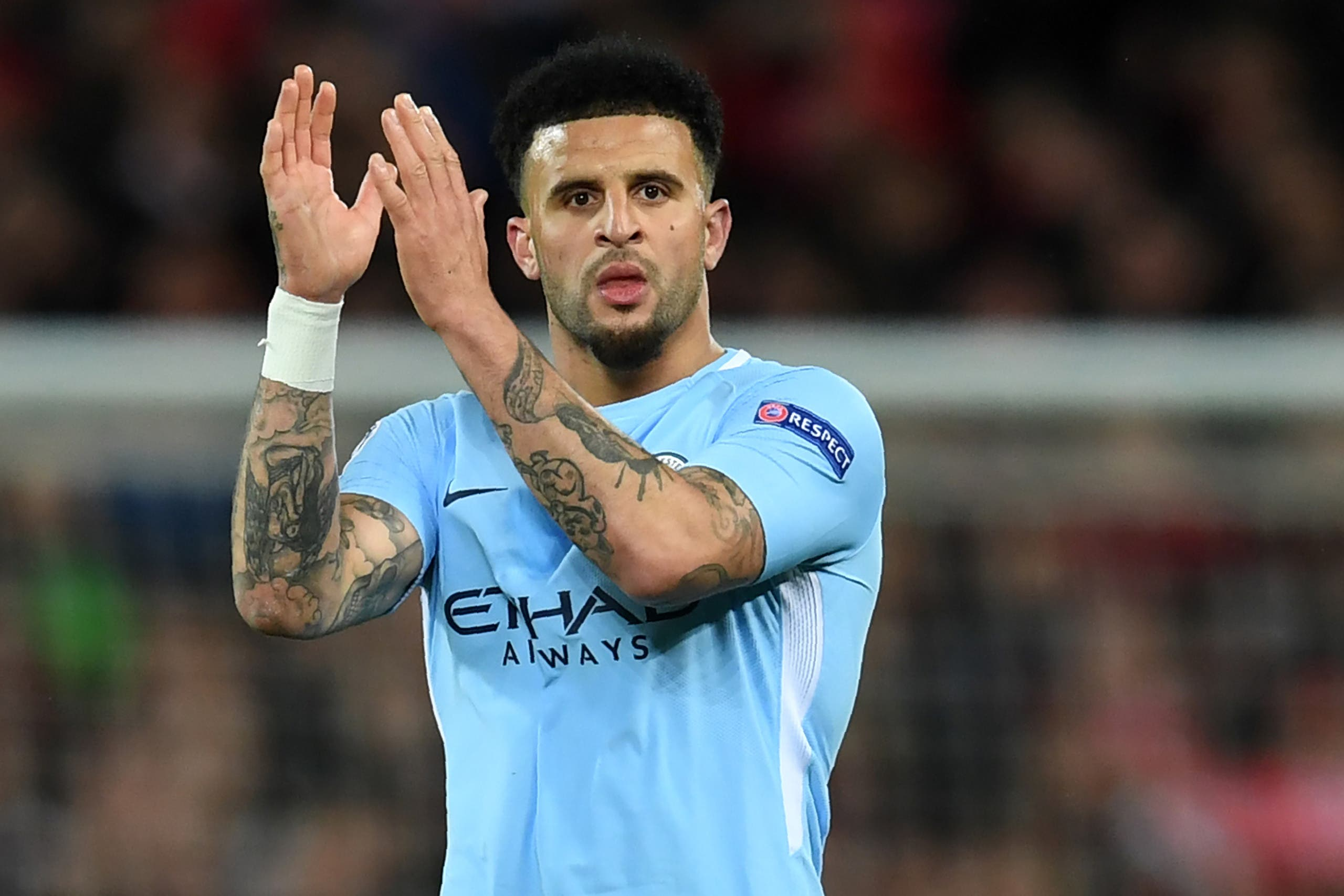 Manchester City's English defender Kyle Walker reacts at the final whistle during the UEFA Champions League first leg quarter-final football match between Liverpool and Manchester City on April 4, 2018. (AFP)