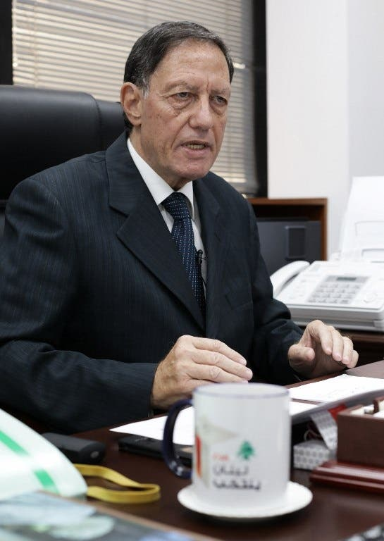 The head of the Lebanese electoral monitoring committee, Judge Nadim Abdel-Malek, gives an interview to Agence France-Presse in Beirut on April 11, 2018. (AFP)