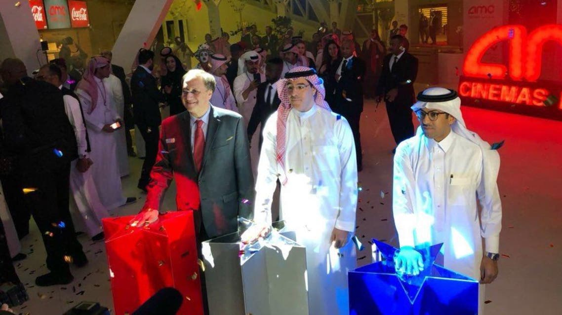 Saudi Minister of Culture and Information Awwad Alawwad formally opens the first Saudi Cinema hall in 35 years in Riyadh. (Supplied)
