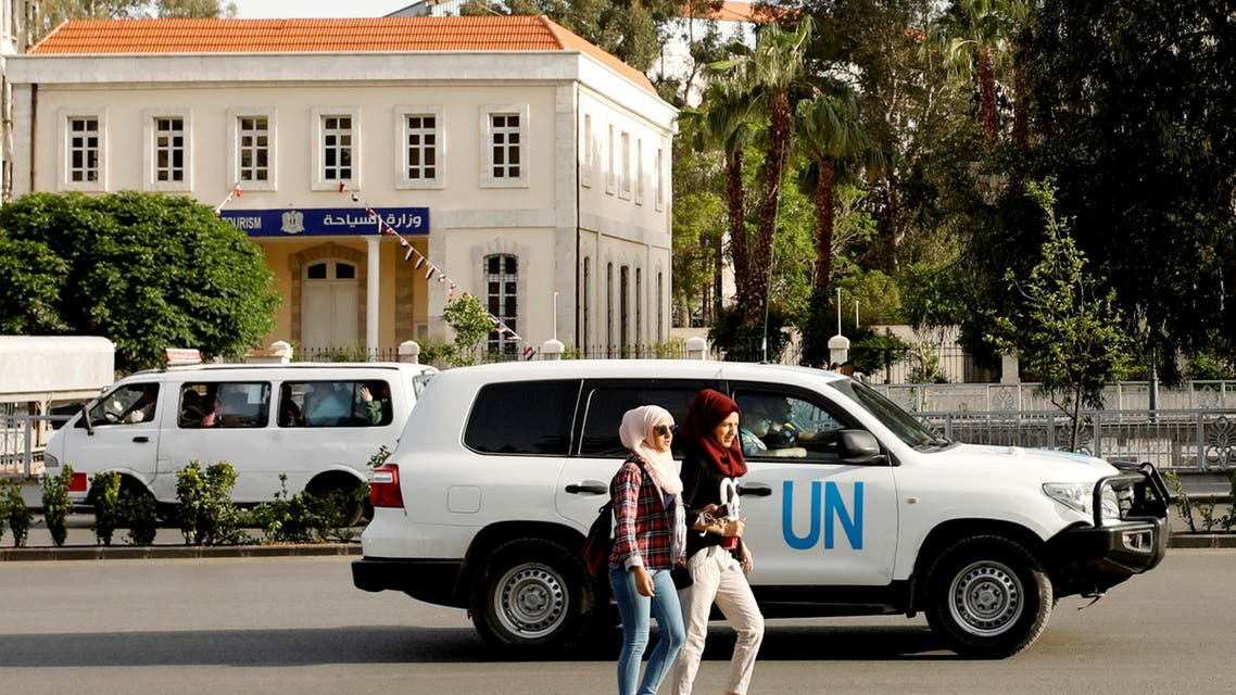 The UN vehicle carrying the OPCW inspectors is seen in Damascus, Syria April 17, 2018. (Reuters)