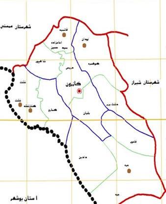 نقشه شهرستان کازرون