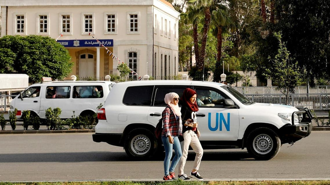 The United Nation vehicle carrying the Organization for the Prohibition of Chemical Weapons (OPCW) inspectors is seen in Damascus on April 17, 2018. (Reuters)