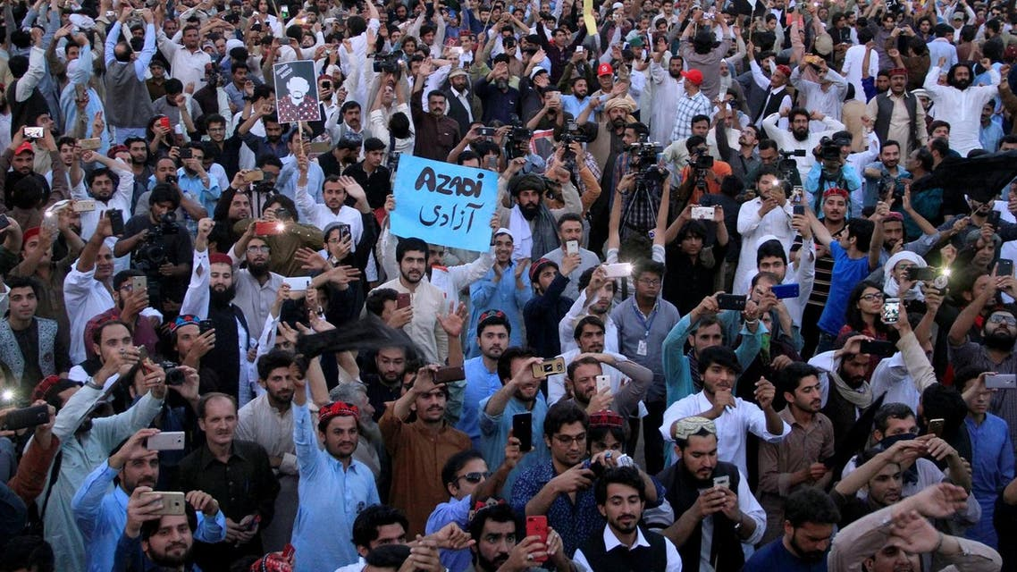 Members of the Pakistan's Pashtun community, chant slogans and take photos of their leader Manzoor Pashteen (unseen) during Pashtun Tahaffuz Movement's (PTM) rally against, what they say, are human rights violations, in Lahore, on April 22, 2018. (Reuters)