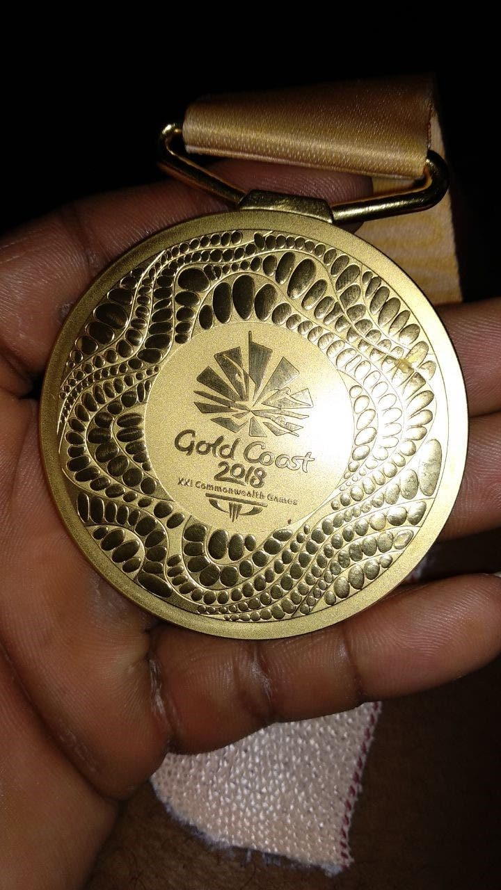 Ragala's 2018 Commonwealth Games gold medal which he hopes will help much-reviled Stuartpuram turn a new leaf. (Supplied)