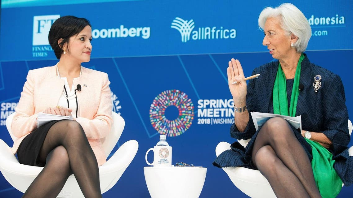 """IMF Managing Director Christine Lagarde (R) joins a seminar on """"Restoring Trust by Curbing Corruption"""" with Paraguayan Finance Minister Lea Gimenez Durate (L) during the IMF/World Bank Spring Meetings at the IMF Headquarters in Washington, DC, on April 22, 2018. (IMF/AFP)"""