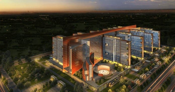The futuristic model of the Rs 1,250-billion diamond bourse coming up at Surat. (Supplied)