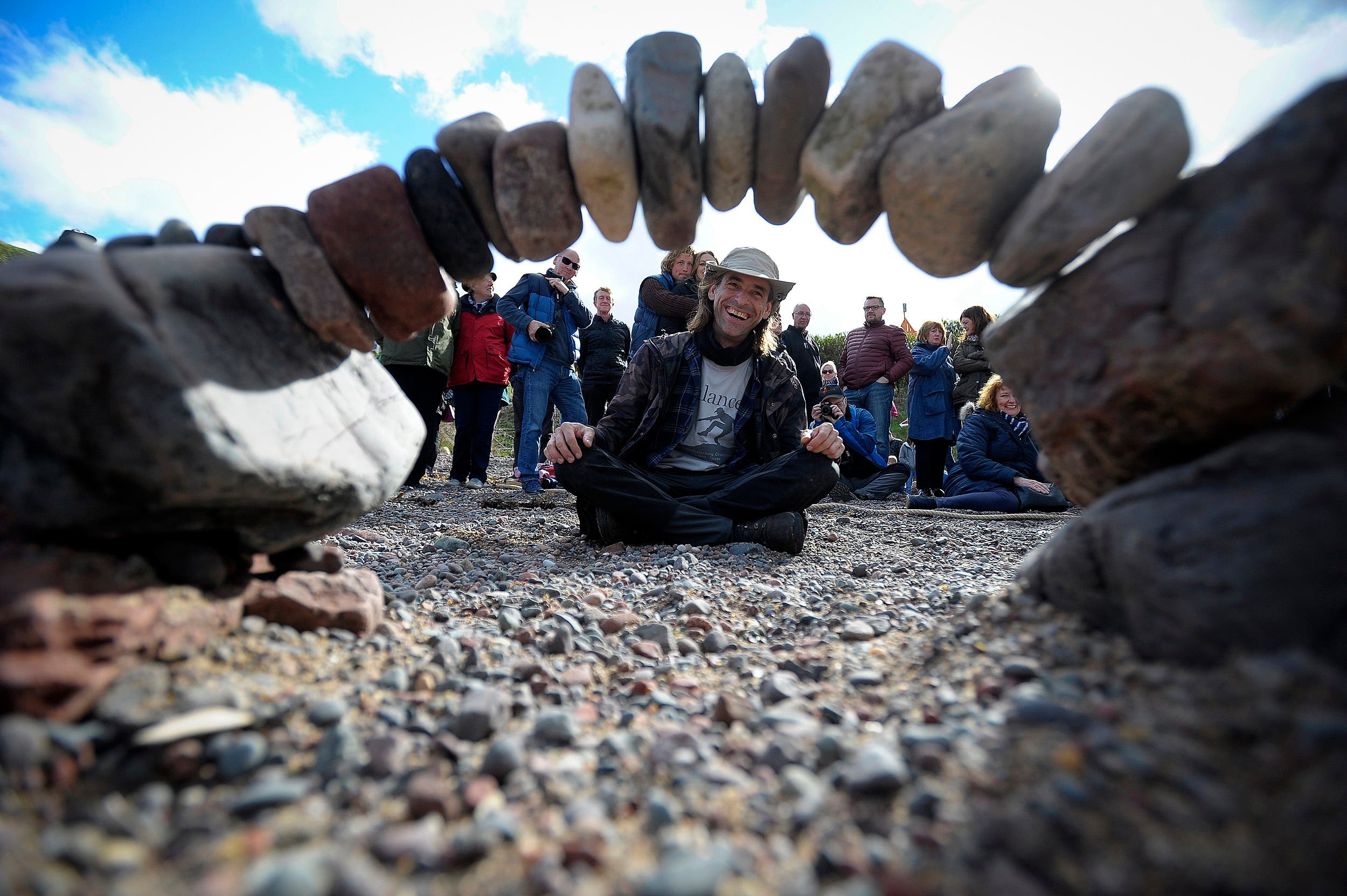 Overall winner, Pedro Duran from Spain, competes in the European Stone Stacking Championships 2018 in Dunbar, Scotland, on April 22, 2018. (AFP)