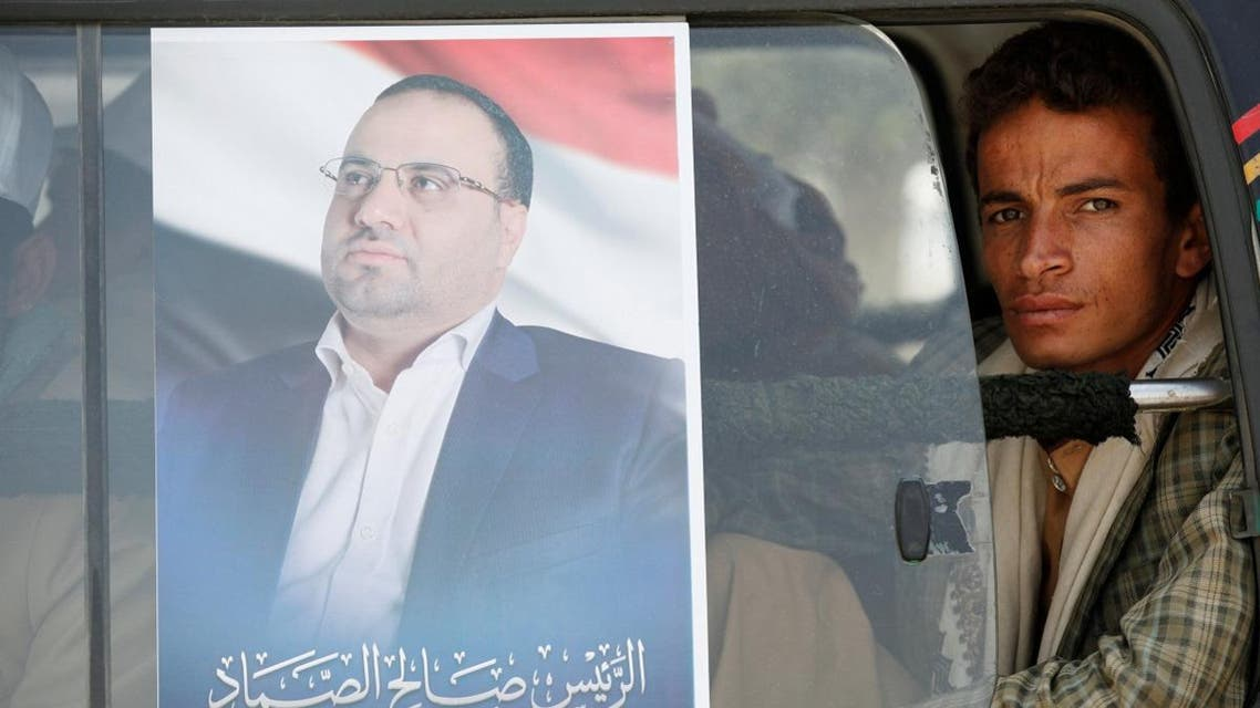 A poster is seen in Sanaa of Saleh al-Sammad, who headed the Houthi-led Supreme Political Council. (File photo: Reuters)