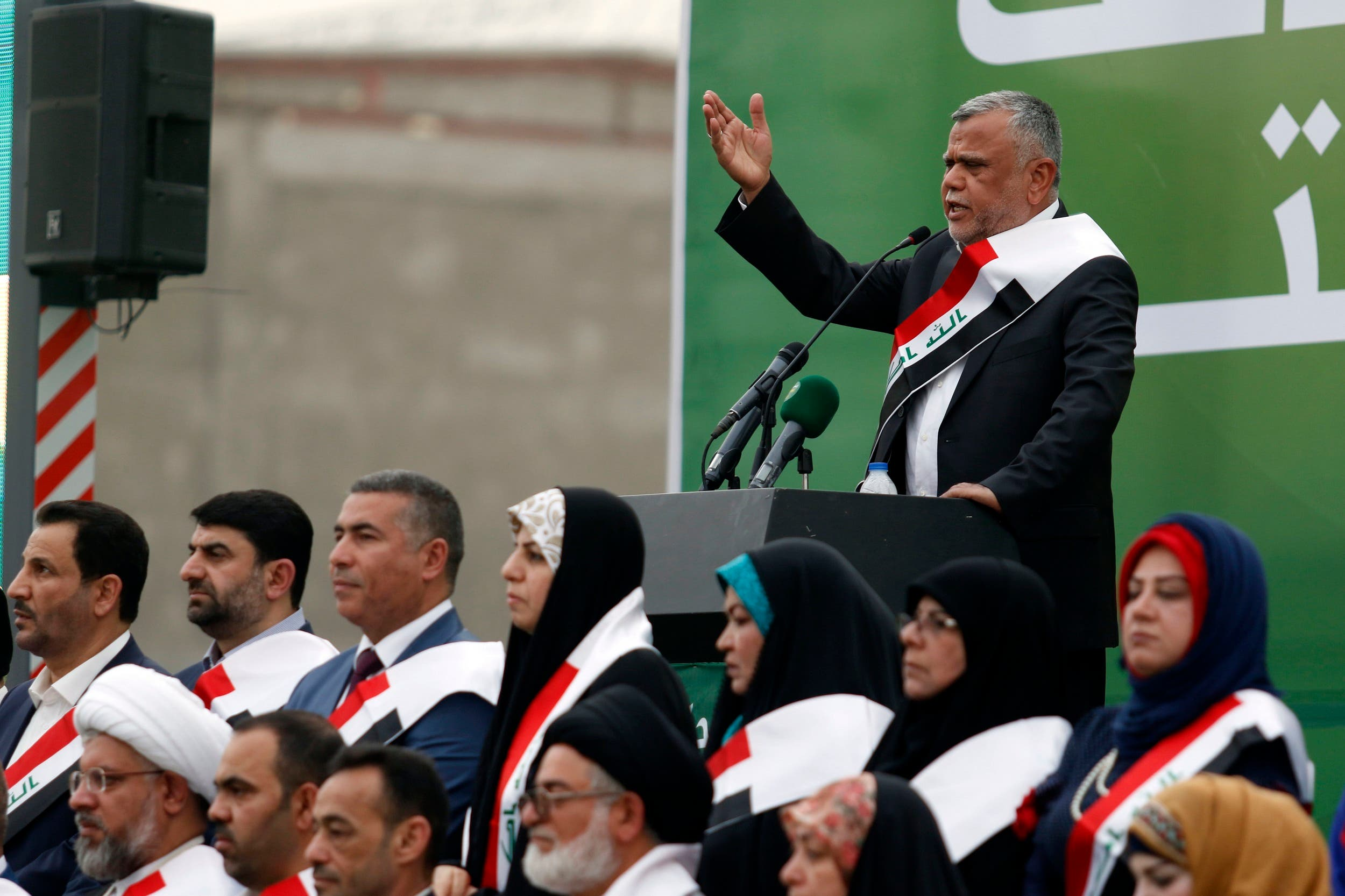 Hadi al-Ameri, head of the Badr organization and leader of Hashed al-Shaabi paramilitary units, speaks during a campaign gathering in Basra on April 21, 2018. (AFP)
