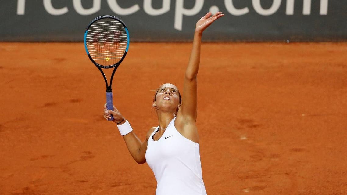 Madison Keys of the US in action during her singles match against Pauline Parmentier of France. (Reuters)