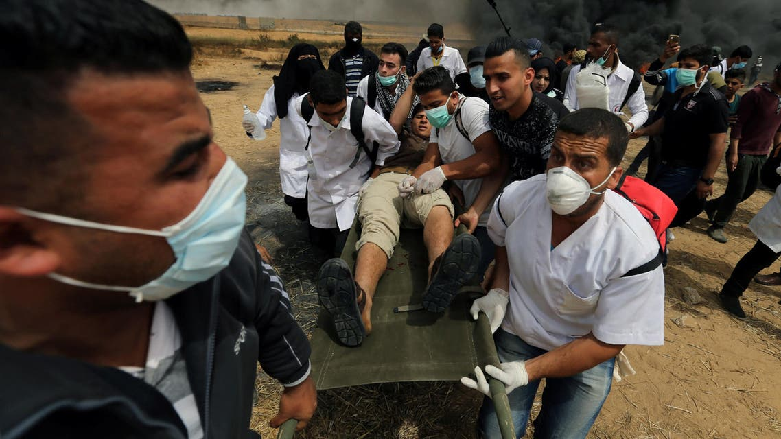 Gaza wounded protesters. (Reuters)